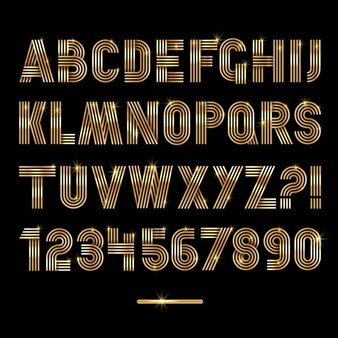 Alphabet made with golden lines