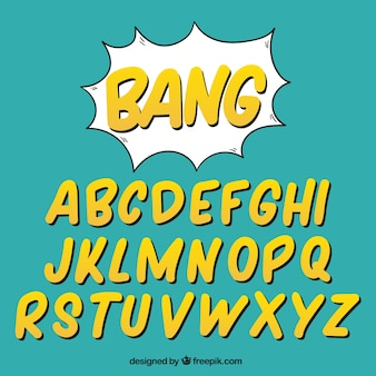 Alphabet of yellow letters in comic style