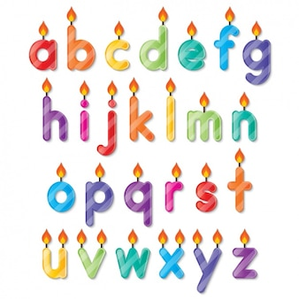 Alphabet shaped birthday candles