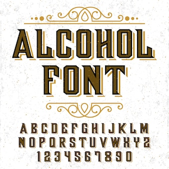 Alphabet with alcohol design