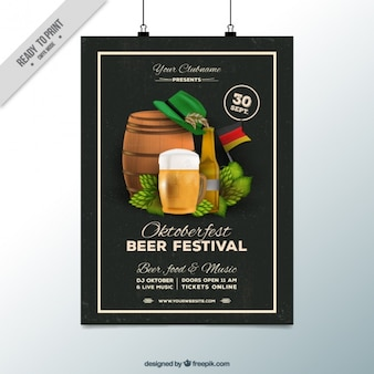 Amazing poster with black background for oktoberfest
