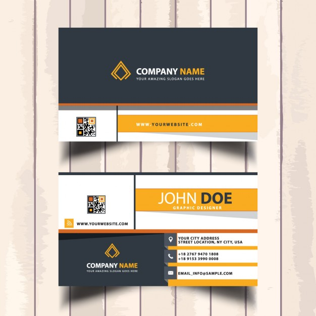 Amazing yellow  business card with polygonal shapes