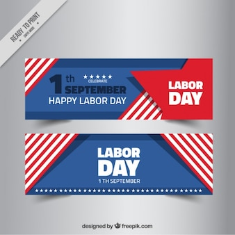 American abstract labor day banners with stripes