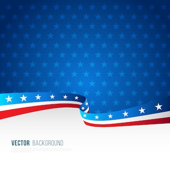American flag background with decorative wavy shape