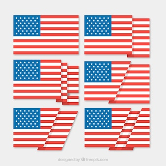 American flag with six different designs