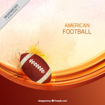 American football background with ball and wavy forms