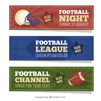 American football banners in flat design