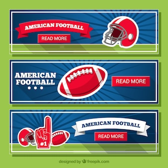 American football banners in retro design