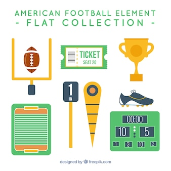 American football element flat collection