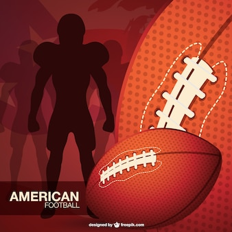 American football player silhouette and balls