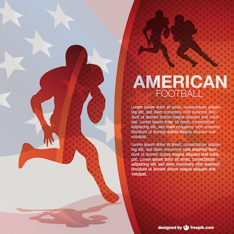 American football silhouettes and flag
