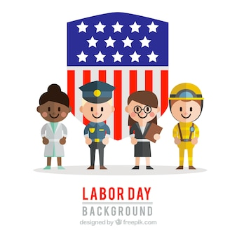 American shield background with labor day characters