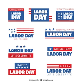American stickers set of labor day