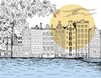 Amsterdam hand-drawing line art illustration vector