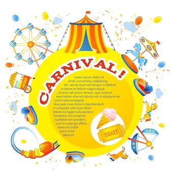 Amusement entertainment carnival theme park design invitation flyer vector illustration