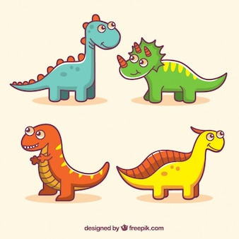 Amusing colored dinosaurs