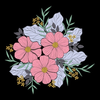 An illustration of flower bouquet in line and hand drawing style