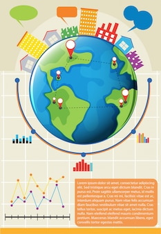 An infographics showing the globe and other things