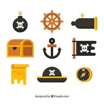 平らなデザインのアンカーと海賊の要素