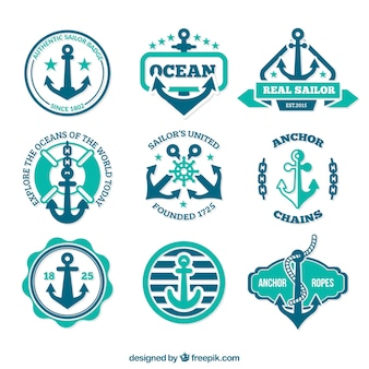Anchor badges in retro style