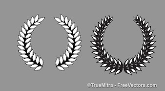 Ancient laurel wreath in white and black