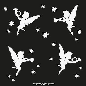 Angels silhouettes with tromphets