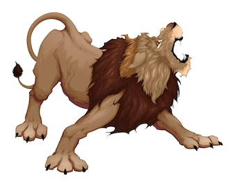 Angry lion is roaring