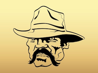 angry Old cowboy face vector