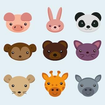 Animal face,set animal face vector