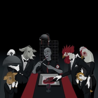 Animals at a dinner