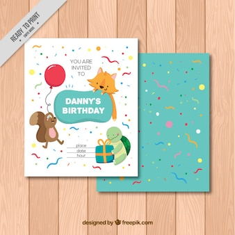 Animals birthday invitation