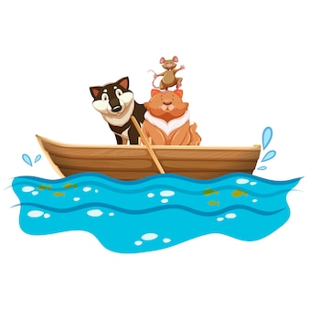 Animals in a boat design