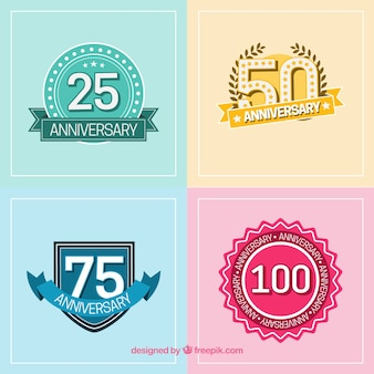 Anniversary badges in flat style