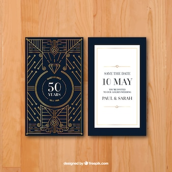 Anniversary card in art deco style