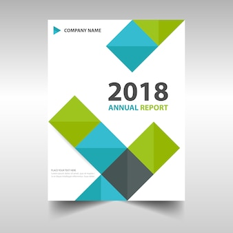 Annual report brochure with colorful squares