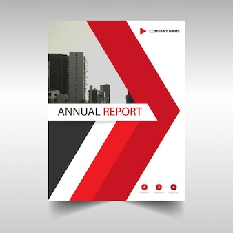 Annual report cover with red triangle