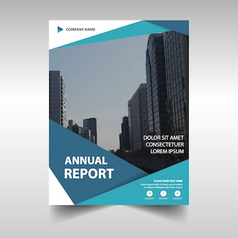 Annual report template with abstract shapes