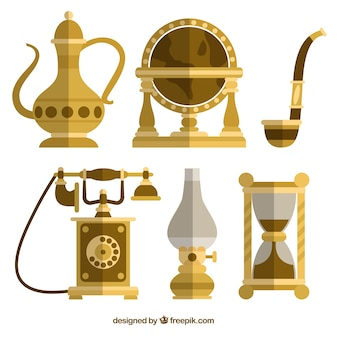 Antique decor set in flat design