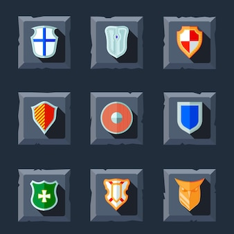 Antique military shields crest medieval heraldry flat icons set isolated vector illustration
