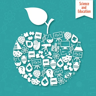 Apple-shaped background about science and education