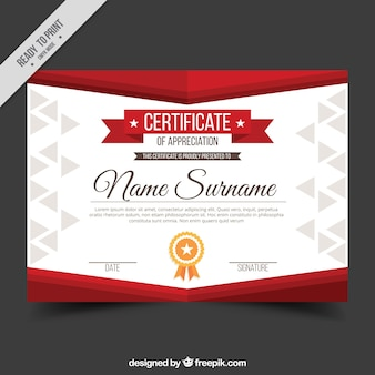Appreciation diploma with red shapes