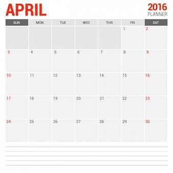 April Monthly Calendar 2016