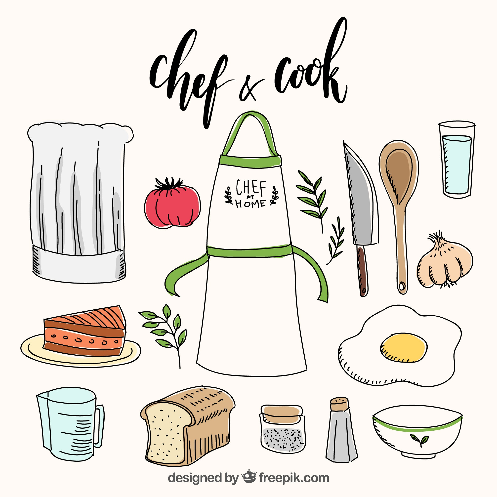 Apron with ingredients and some kitchen objects