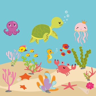 Aquarium cartoon or ocean underwater cartoon