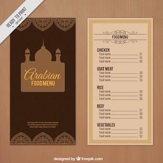 Arabian menu with a palace drawing