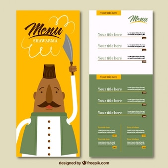 Arabic food menu with a funny character