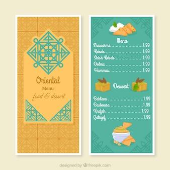 Arabic menu template with oriental symbol