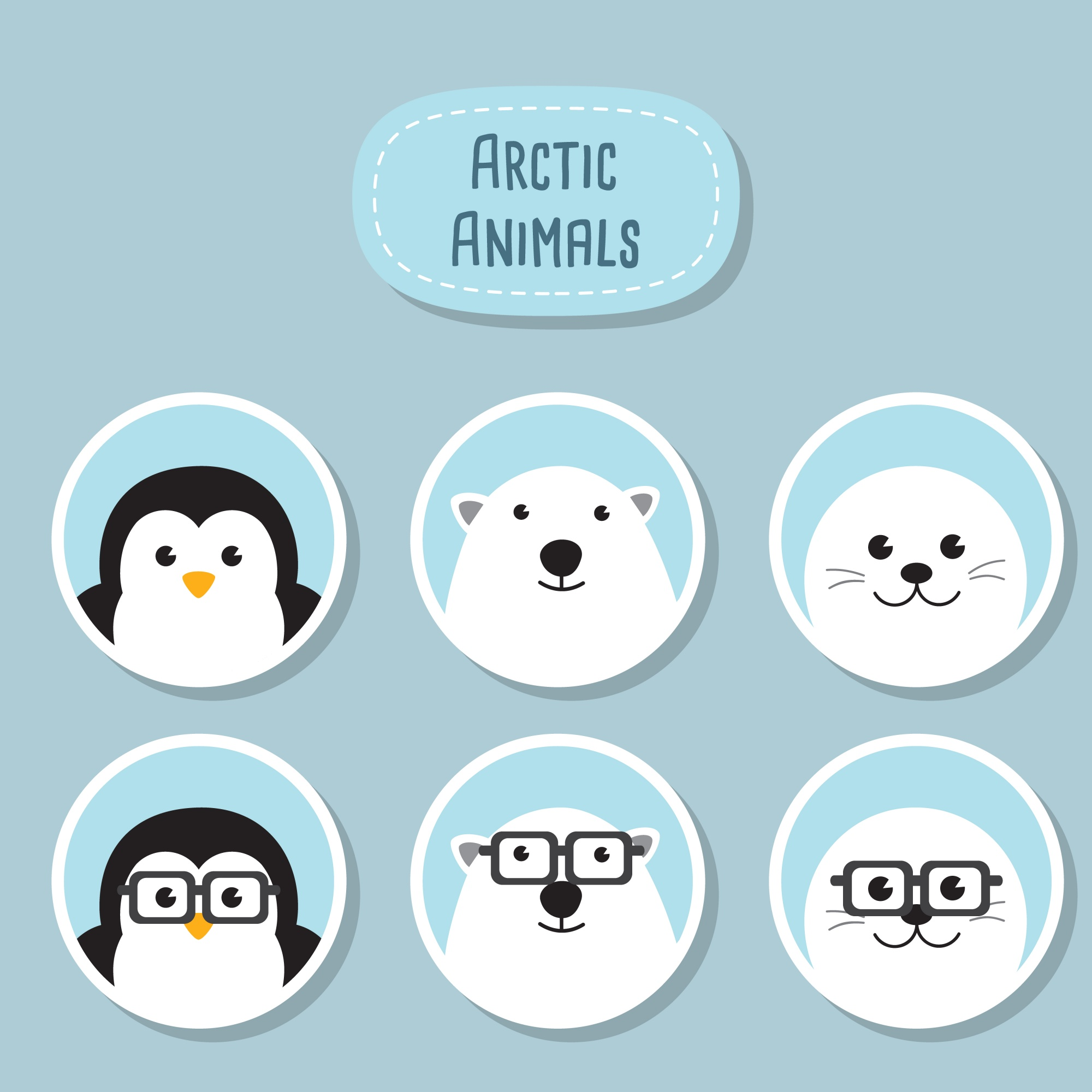 Arctic Animals Flat Icons Set. A cute Penguin, Polar bear and Baby seal with funny nerd glasses. Animals Geek Hipster Characters.