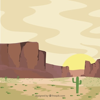 Arid background with vegetation and mountains