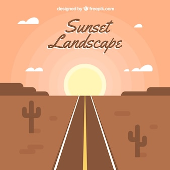Arid landscape background with road at sunset